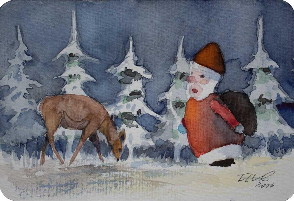 bald nun ist weihnachtszeit miniatur in aquarell von. Black Bedroom Furniture Sets. Home Design Ideas