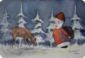Bald nun ist Weihnachtszeit (c) Miniatur in Aquarell von FRank Koebsch
