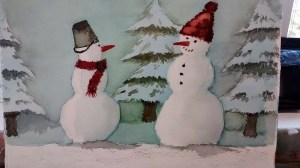 Lustige Schneemannbilder aus dem Aquarellkurs Weihnachtsaquarelle (c) Bernd Sturzrehm (1)