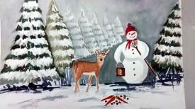 Lustige Schneemannbilder aus dem Aquarellkurs Weihnachtsaquarelle (c) Bernd Sturzrehm (2)