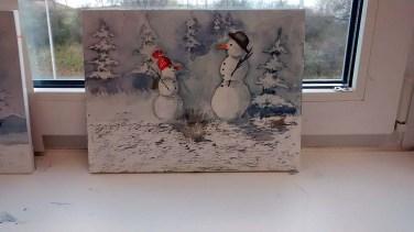 Lustige Schneemannbilder aus dem Aquarellkurs Weihnachtsaquarelle (c) Bernd Sturzrehm (3)