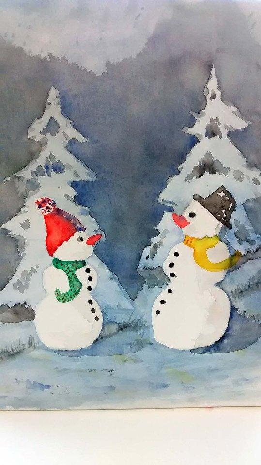 Lustige Schneemannbilder aus dem Aquarellkurs Weihnachtsaquarelle (c) Bernd Sturzrehm (6)