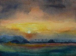 Sonnenuntergang im Herbst (c) Aquarell von FRank Koebsch