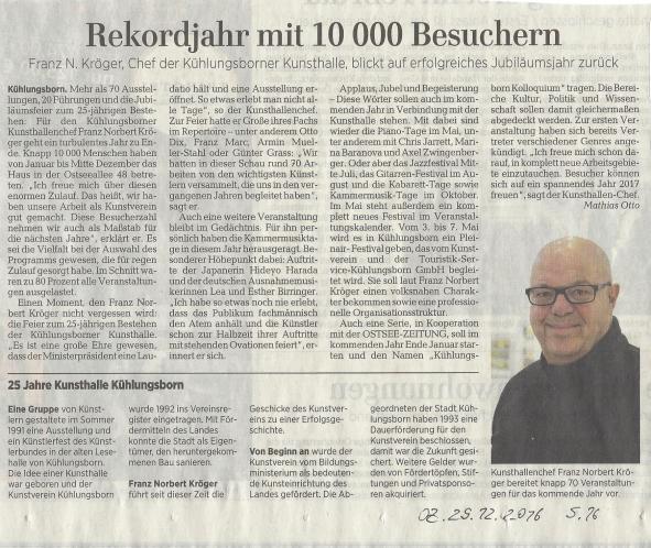 Rekordjahr mit 10 000 Besuchern - Artikel vom 29 12 2016 in der Ostsee Zeitung über die Kunsthalle Kühlungsborn