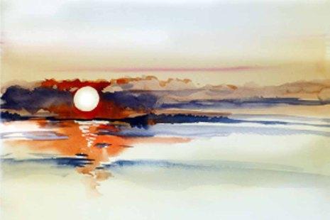 Sonnenspiel © Aquarell von Sonja Jannichsen - 30 x 40 cm