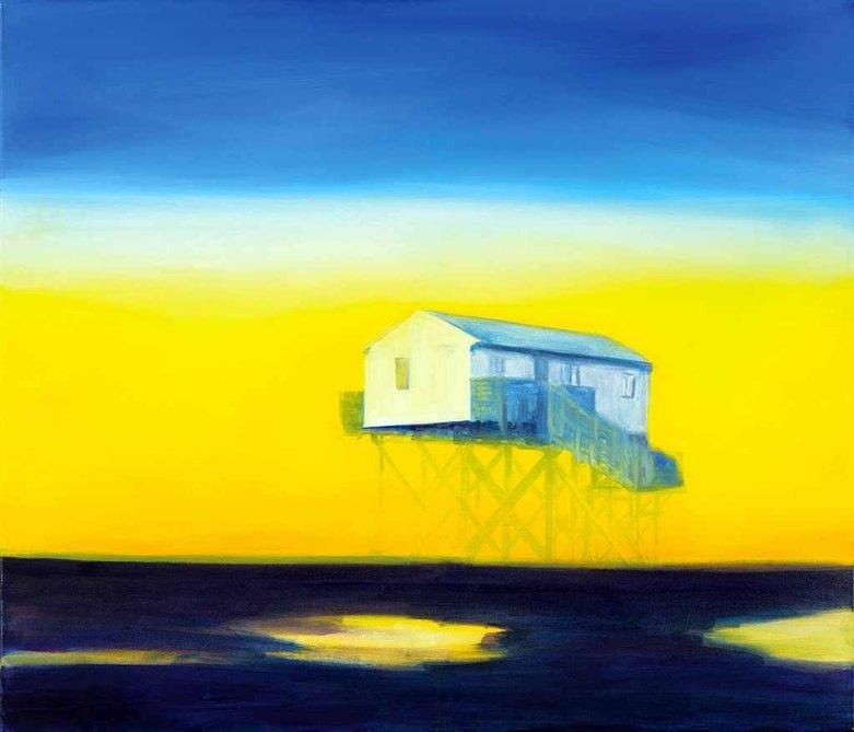 Stelzenhaus, 60cm x 80 cm, 2016, Öl auf Leinwand (c) Anke Gruss