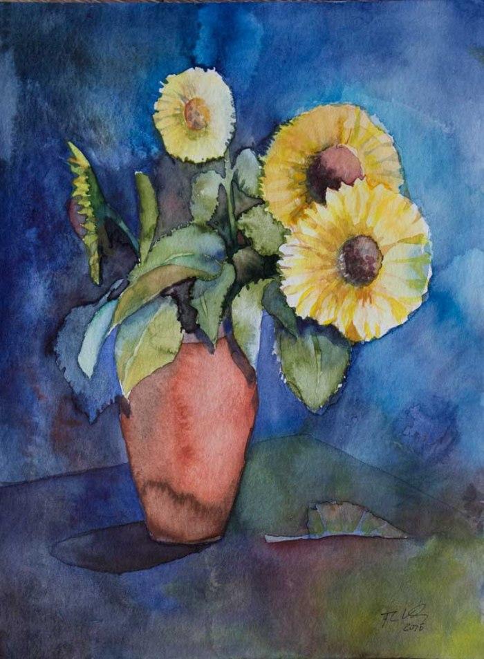 Stillleben mit Sonnenblumen (c) Aquarell von FRank Koebsch