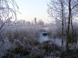 verstecktes Boot am winterliechen Lüsewitzer See (c) FRank Koebsch
