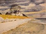Winter am Strand von Ahrenshoop (c) Aquarell von FRank Koebsch
