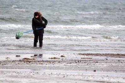 Bernsteinsucherin in der eisigen Ostsee (c) FRank Koebsch