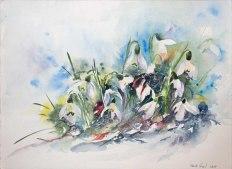 Da sind wir wieder (c) ein Schneeglöckchen Aquarell von Hanka Koebsch