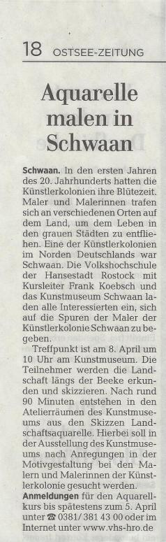 Aquarelle malen in Schwaan - Ostsee Zeitung 2017 02 23