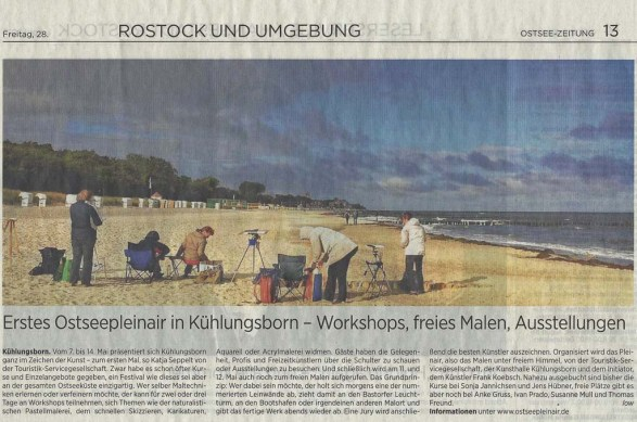 Erstes Ostseepleinair in Kühlungsborn - Workshops, freies Malen, Ausstellungen - Ostsee Zeitung 2017 04 28