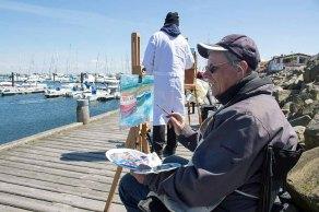 Plein Air Malerei im Hafen von Kühlungsborn macht einfach Spaß (c) FRank Koebsch
