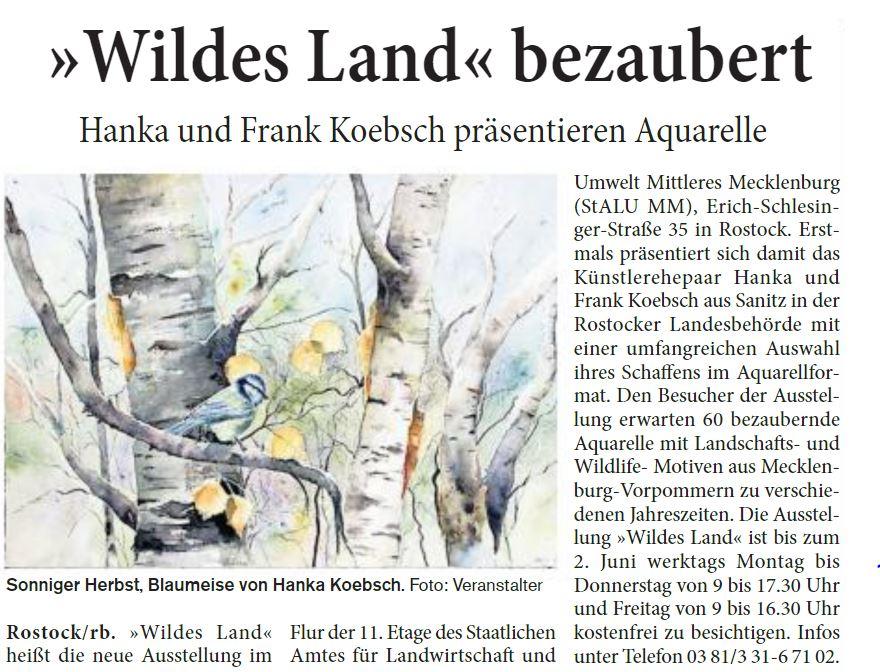 Wildes Land bezaubert - Hanka und Frank Koebsch präsentieren Aquarelle - Rostocker Blitz 2017 03 26