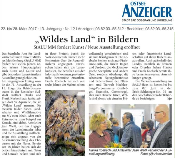 Wildes Land in Bildern - der Ostsee Anzeiger über die Ausstellung von Hanka und Frank Koebsch 2017 03 22