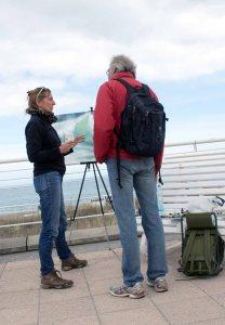 Anke Gruss malt beim Plein Air Festival in Kühlungsborn (c) FRank Koebsch