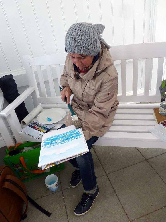 Aquarellieren im Konzertgarten Ost während des PLein Air Festivals KüHlungsborn (c) Sonja Jannichsen (2)