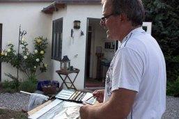Frank Koebsch malt bei Kunst Offen in der Alten Büdnerei Kühlungsborn (c) Kristin Schröter (5)