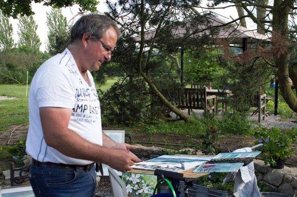 Frank Koebsch malt bei Kunst Offen in der Alten Büdnerei Kühlungsborn (c) Kristin Schröter (7)
