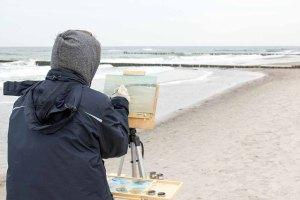 Freies Malen am Strand von Kühlungsborn im Rahmen des Plein Air Festivals (c) FRank Koebach (4)