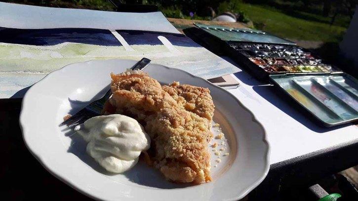 Lecker Kuchen und unsere Aquarelle ein tolle Kombination bei Kunst Offen in der Altern Büdnerei (c) FRank Koebsch