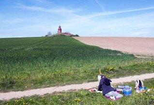 Plein Air Pastellmalerei am Leuchtturm Bastorf (c) FRank Koebsch (2)