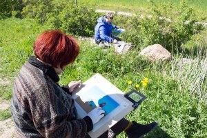Plein Air Pastellmalerei am Leuchtturm Bastorf (c) FRank Koebsch (4)