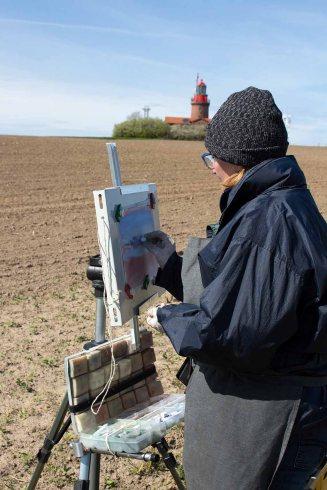 Plein Air Pastellmalerei am Leuchtturm Bastorf (c) FRank Koebsch (9)