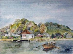 Ruderbootfähre Baabe - Moritzdorf (c) Aquarell von Frank Koebsch