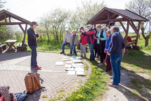 Sonja Jannichsen bei der Bildbeprechung der Aquarelle am Leuchtturm Bastrorf (c) FRank Koebsch (3)
