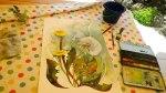 Ein Sommeraquarell mit einer Pusteblume entsteht im Garten (c) FRank Koebsch (2)
