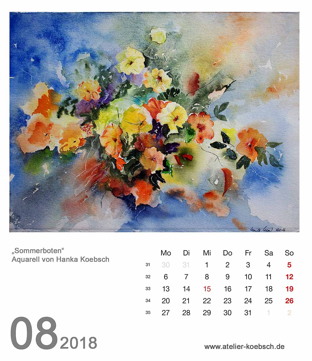Kalenderblatt August 2018
