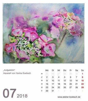 Kalenderblatt Juli 2018