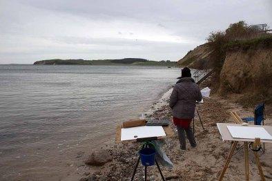 Plein Air Malen an der Steilküste von Klein Zicker (c) FRank Koebsch