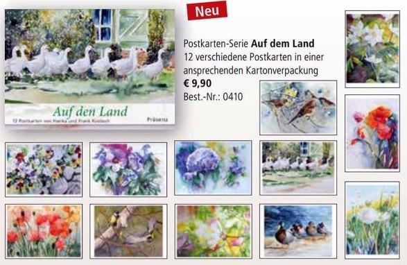 Postkarten-Serie Auf dem Land mit Aquarellen von Hanka & Frank Koebsch beim Präsenz Verlag