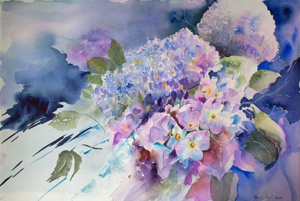 Sommerfarben (c) ein Hortensien Aquarell von Hanka Koebsch
