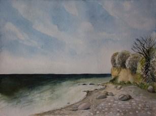 Steilküste Klein Zicker (c) Aquarell von Frank Koebsch