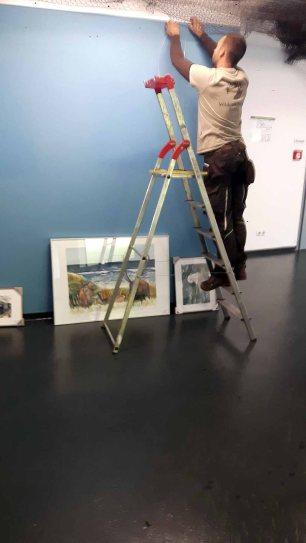 Schnappschüsse vom Hängen unserer Aquarelle im Wildpark MV (c) FRank Koebsch (5)