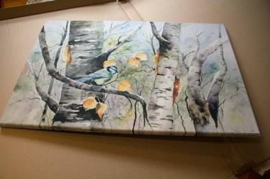 Das Wild Life Aquarell - Sonniger Herbst - als Druck auf Leinwand (c) FRank Koebsch (2)