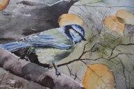 Detail aus dem Druck auf Leinwand des Aquarells - Sonniger Herbst (c) FRank Koebsch