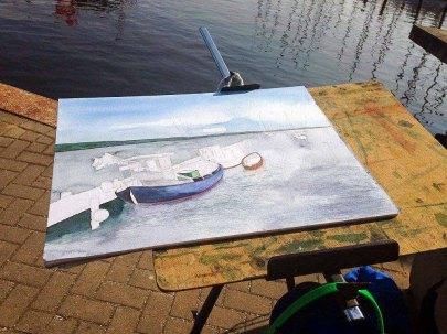 Ein Aquarell von Frank Koebsch entsteht im Hafen von Rerik - Mai 2017 (c) Kirsten Paulsen