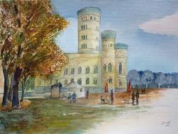 Herbst am Jagdschloss Granitz (c) Aquarell von FRank Koebsch