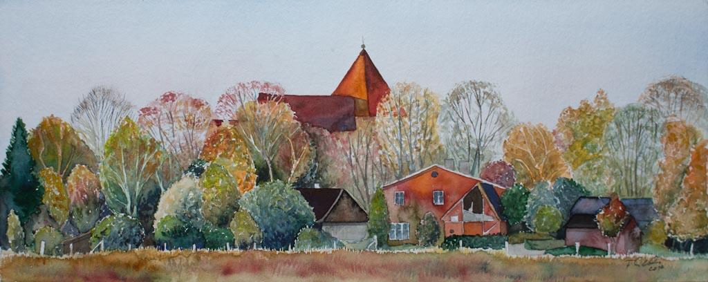 Herbst in Sanitz (c) Aquarell von Frank Koebsch