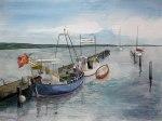 Kutter im Hafen von Rerik (c) Aquarell von Frank Koebsch