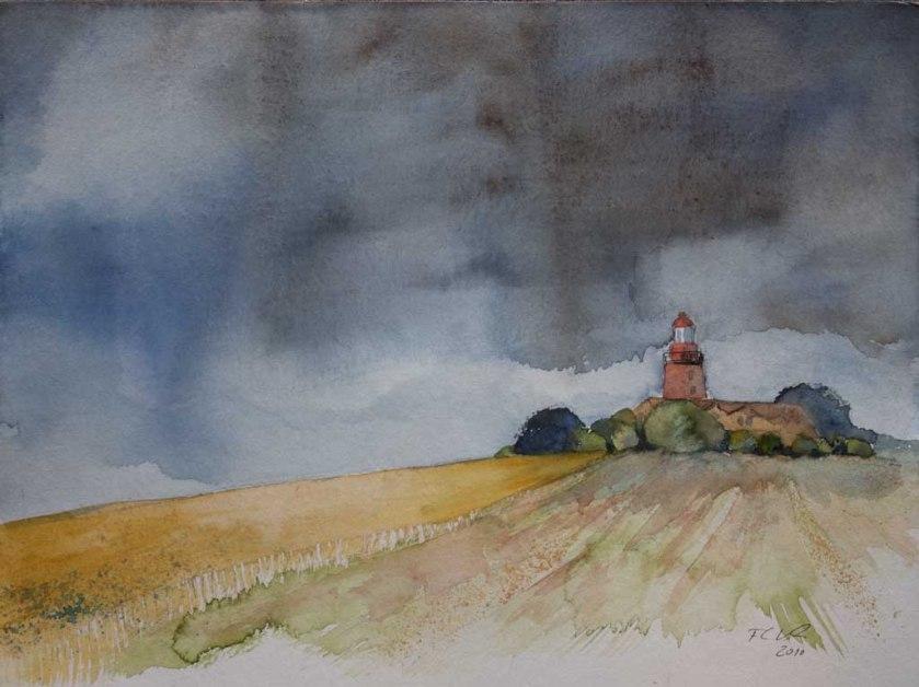 Regenwolken über dem Leuchtturm Bastorf (c) Aquarell von Frank Koebsch