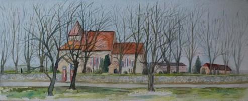 Sanitzer Kirche (c) Aquarell von Frank Koebsch