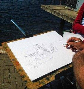 Skizze für ein Aquarell von FRank Koebsch im Hafen Rerik - Mai 2017 (c) Kirsten Paulsen