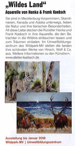 Aquarelle von Hanka & FRank Koebsch - Das Güstrowjournal berichtet über unsere Ausstellung - Wildes Land - im Wildpark MV - 2017 10