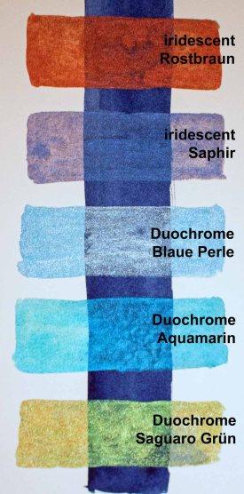 Beispiele für lumineszierende Aquarellfarben (c) FRank Koebsch
